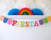 Fiesta Banner - 5 inch Letters - Fiesta Party Garland Birthday Party Decor Cinco De Mayo Party Banner Colorful Birthday Decor Fiesta Sign