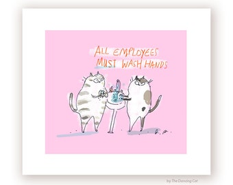 Wash Hands Sign Cat- Funny Cat Print- Bathroom Art - Bathroom Sign