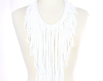 White Crochet Fringe Necklace - Statement Necklace