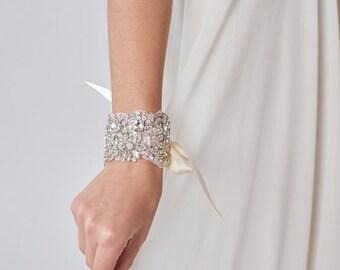 Crystal Bridal Cuff | Wedding Bracelet | Rhinestone Bridal Bracelet | Beaded Wedding Cuff | Wedding Jewelry | Accessory [Asteria Cuff]