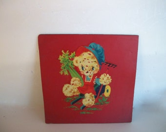 Painted Linoleum Of Teddy Bear In Garden Vintage 1950s Distressed Has Some Wear 9 And 1/8 Inches Square Wall Decor