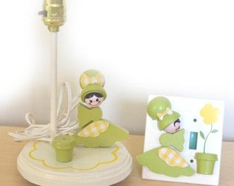 80s Lamp Switch Plate Girls Nursery Decor Cottage Chic