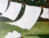 Impressionist Plein Air Painting Backyard Clothesline Laundry Washday Landscape Art 16x20 Lynne French