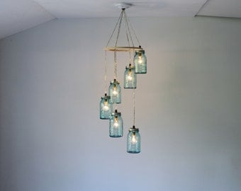 Mason Jar Chandelier, 6 Antique Blue Mason Jar Pendant Lights in a Spiral, Hanging Lighting Fixture, BootsNGus Modern Home Lighting & Decor