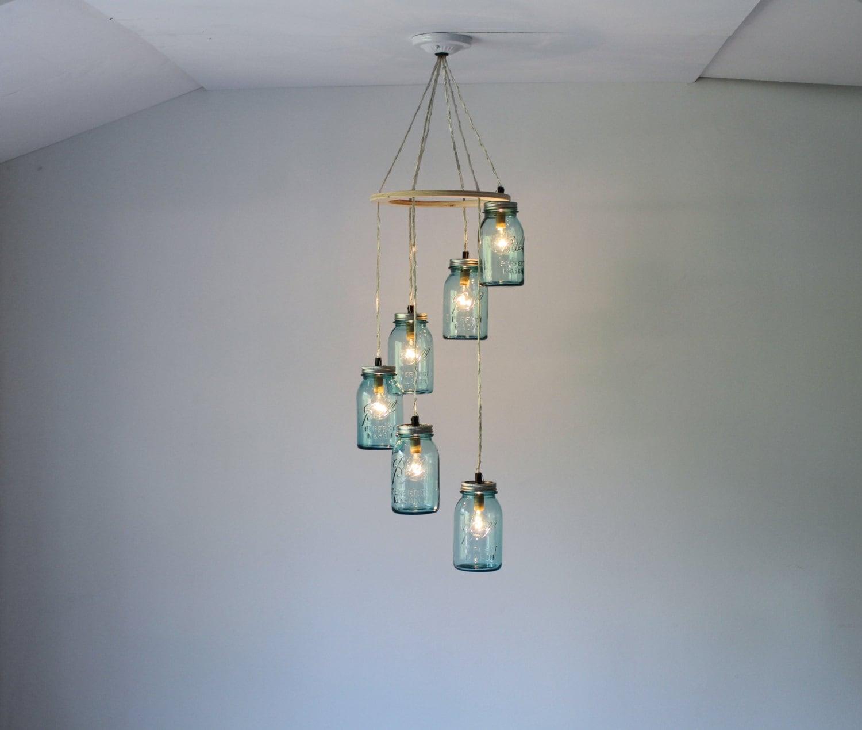 mason jar chandelier 6 antique blue mason jar pendant lights. Black Bedroom Furniture Sets. Home Design Ideas