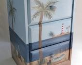 Hand Painted Beach Furniture/ Beach Chest/ Beach Nightstand/ Beach End Table/ Coastal Living/ Ocean decor/ Beach decor Lighthouse Boat decor