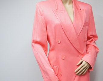 1980's Vintage Suit Women's Spring Coral Double Breasted Skirt and Jacket Classy Dress Suit David Bijan Size 10 - 12