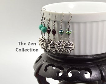 Yoga Jewelry Silver Drop Earrings Zen Jewelry Good Luck Symbol in Turquoise Garnet Emerald Green Iridescent Earrings