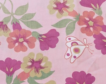 "50s Delightful Vintage Print ""Where White Butterflies Quietly Go""//Fuschia, Orange, Olive Flowers on Hot Pink Ground//Cotton"