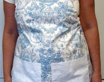 Women's Apron-Light Blue Toile Print