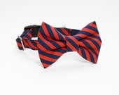 Navy and Red Striped Adjustable Bow Tie Dog Collar