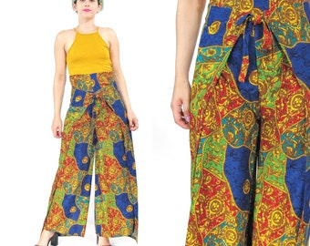 90s Baroque Print Wide Leg Pants Vintage Palazzo Pants High Waist Trousers Wrap Around Pants Tie Waist Hippie Comfy Loose Summer Pants (M/L)