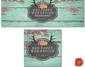 Facebook Cover Profile Set, Aqua Green Rustic Chic Wood, Antlers Chalkboard Floral, Shabby Chic Grunge Banner Set, Social Media Graphics