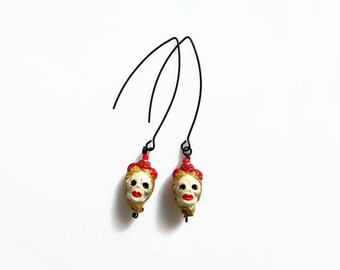 Sugar Skull Earrings, Dia De Los Muertos Earrings, Frida Kahlo Jewelry