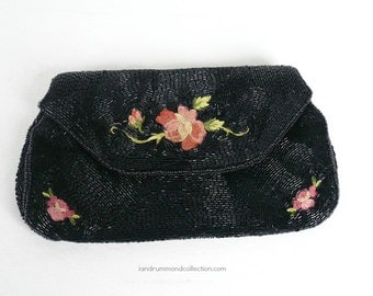 Vintage 50s Purse, Beaded Clutch, Cocktail, Evening Bag, Black Bugle Beads, Embroidered Pink Roses, Made in France, 50s Retro Small Purse