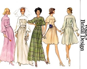 70s High Cowl Neck Wedding Dress Pattern Vogue Bridal Design Flowing Maxi Prom Evening Bridal Gown Pattern Size 8 Bust 31 1/2 Inches