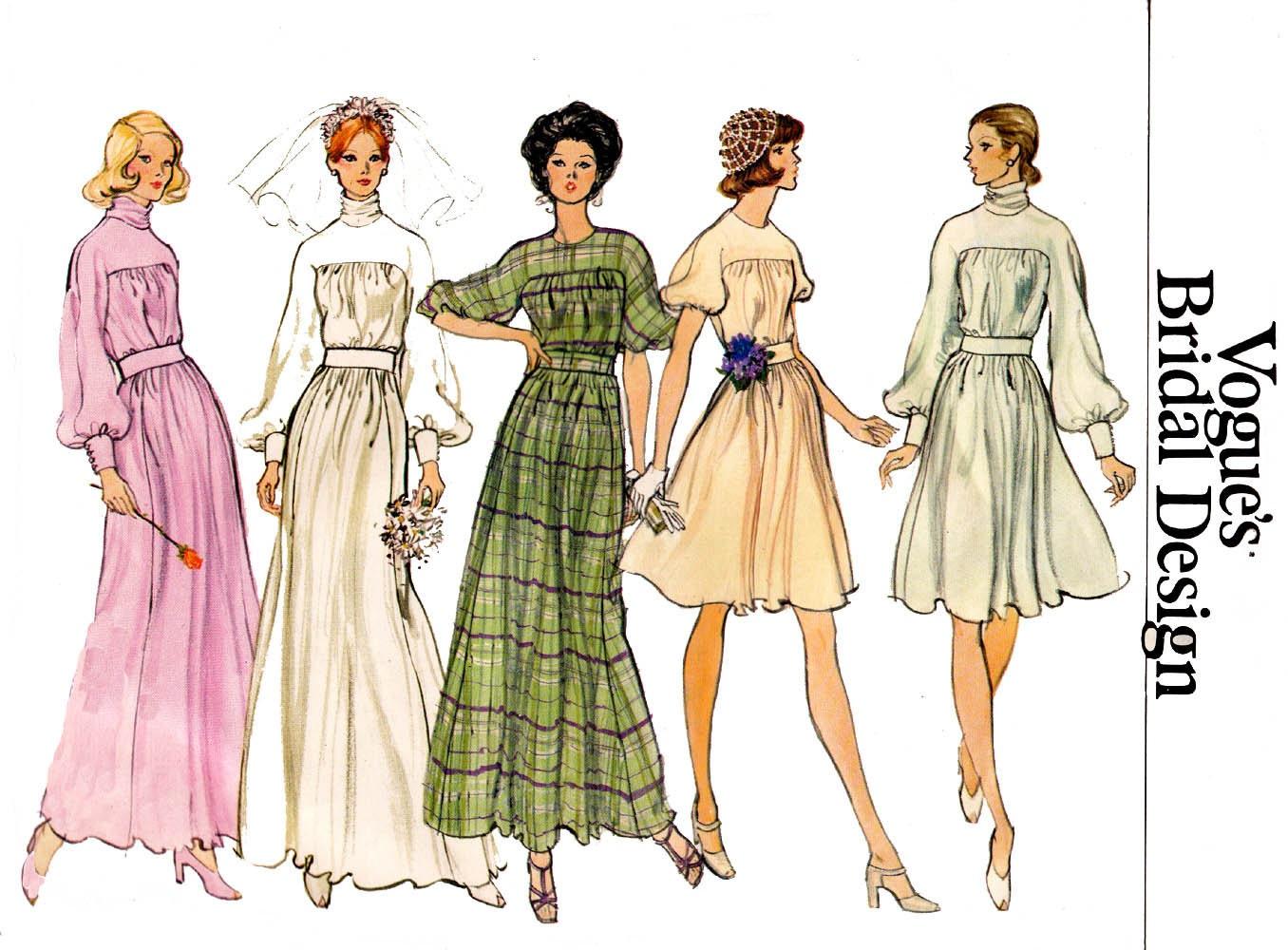 70s high cowl neck wedding dress pattern vogue bridal for Cowl neck wedding dress pattern