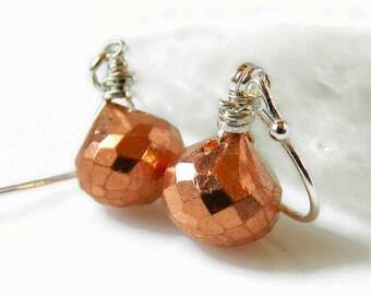 Copper Pyrite Earrings Teardrop Earrings Cooper Earrings Copper Briolette Drops Gemstone Dangle Earrings Sterling Silver Wire Wrapped Gift