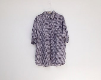 Vintage 1990s Mens Pure Silk Patterned Button Down Shirt