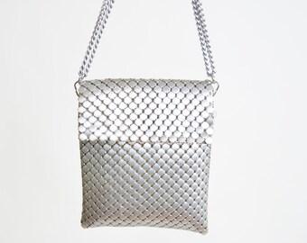Vintage 60s SILVER Metal Mesh PURSE / 1960s Shoulder Bag