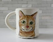 Ginger Cat Mug | tabby cat coffee mug tea cup | orange cat with apple green interior | cat lover crazy cat lady gift | made to order