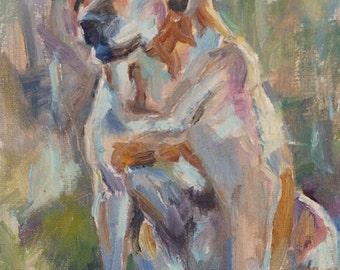 Sale, Dog Painting, Yellow Lab, Labrador Retriever, Dog Portrait, Dog in Landscape, Painting of dog, Custom dog, Original Oil