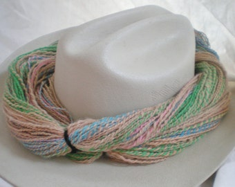 Worsted Handspun Alpaca  yarn Sandy Spring dk light worsted weight sand blue green pink 244 yds