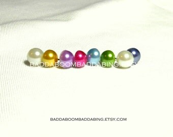 Pearl Earrings Half Ball Surgical Steel Stud Posts  8mm Choose Your Color White Yellow Light Purple Dark Pink Light Blue Green Black