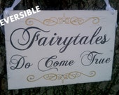 Wedding Sign, Tiara with Crystals, Reversible, Here Comes Your Girl & Fairytales Do Come True, Princess