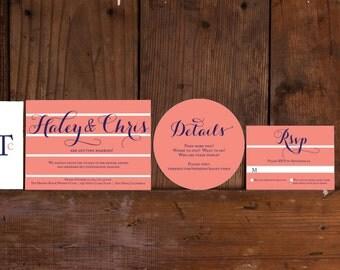 Modern Striped Wedding Invitations Download,Striped Wedding Invite Digital Files,Preppy  Wedding Invitation Printable,Invitation Template