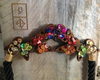 The Butterfly Effect, Butterfly necklace, wooden butterfly necklace, beaded necklace, rainbow beads, butteffly necklace, handmade