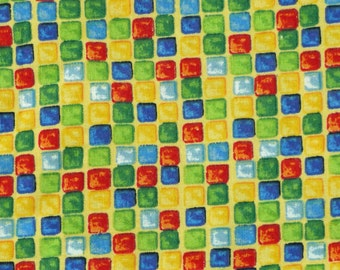 Yellow Red Green Blue Tiles Print, Quilting Cotton Fabric, Small Multicolor Squares, half yard, B14