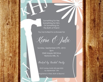 His and Her Shower Invitation; Couples Shower Invitation; Custom Tool and Garden Invitation; Printable Digital File