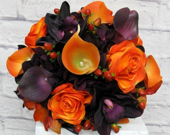 Wedding bouquet, Bride bouquet, Purple and Orange silk wedding flowers