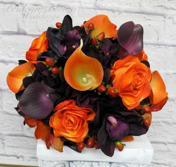 Silk Orange Fall Flowers: Wedding Bouquet Bride Bouquet Purple And Orange Silk Wedding