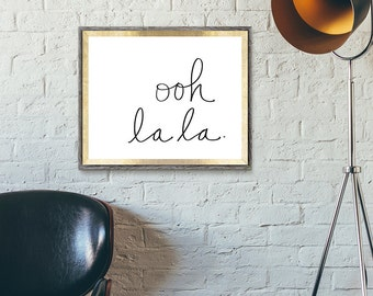 OOH LA LA | Love | Typographic Printable Art | Handwritten Type | Digital Print Download | 8 x 10