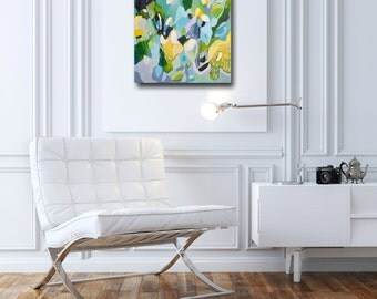 Original Abstract Painting, Abstract Expressionist Canvas, Acrylic Painting, Modern Abstract Wall Art, Expressive Artwork, Green,Blue Yellow