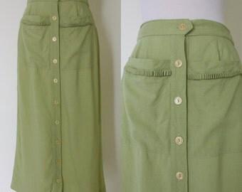 1950s Koret of California pale green midi skirt / vintage linen skirt with pockets