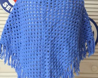Vintage Bright Blue Crochet Shawl/Wrap/Poncho/60s 70s/Granny Country Prairie/Sapphire Blue Handmade Primitive Hippy Small Womens Teens Girls
