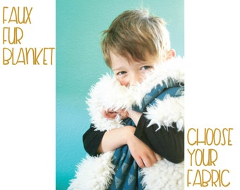 Faux Fur Baby Blanket // Choose your Fabrics // Toddler Blanket
