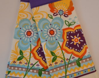 Set of Two Handmade Hanging Kitchen Towels- Spring Flowers- Kitchen Towels- Hanging Towels- Bathroom Towels