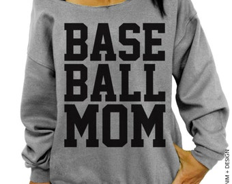 Baseball Mom Sweatshirt - Gray Slouchy Oversized Sweatshirt - Baseball mom shirt, oversized sweatshirt, plus size sweatshirt, gift for mom