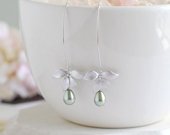 Silver Orchid Flower Sage Green Olivine Pearls Long Dangle Earrings Sage Wedding Bridal Earrings Bridesmaid Gift Valentine's Day Gift