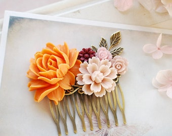 Tangerine Orange Wedding Hair Comb Dusty Pink Maroon Burgundy Bridal Hair Comb Leaf Branch Fall Wedding Hair Accessory Bridesmaid Gift