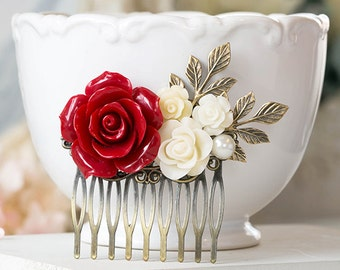 Red Wedding Hair Accessory Bridal Hair Comb Large Red Rose Cream Ivory Flower Leaf Pearl headpiece Red Bridal Hairpiece Bridesmaid Gift