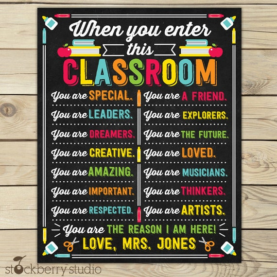 Classroom Decor Set Free : Classroom decor sign by stockberrystudio