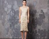 Beige felted dress pencil, felting wool, fall autumn fashion, party clothing, bridesmaid wedding idea, ooak eco friendly