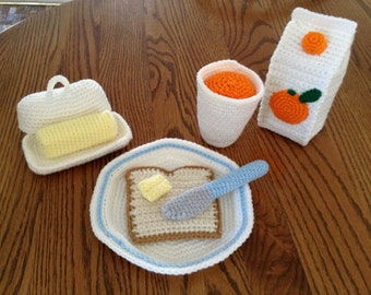 Crochet Toast and Butter Breakfast Set, Made to Order
