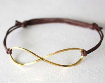 Infinity Bracelet or Anklet, Eternity Bracelet, Gold Infinity, Brass Infinity, Large Infinity Bracelet, Waxed Cotton Cord