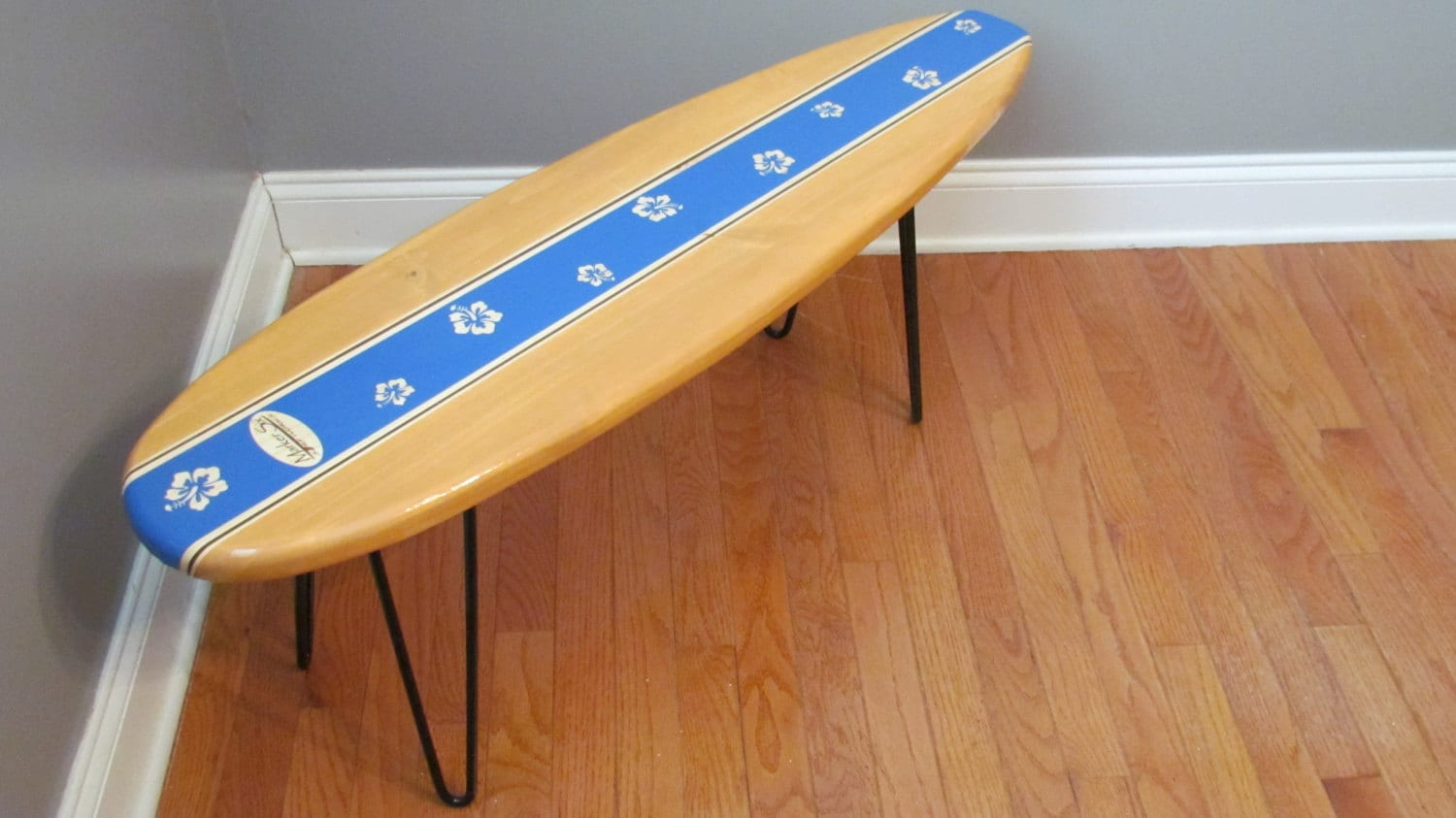 Surfboard end table kids table night stand coffee by markersix for Surfboard coffee table